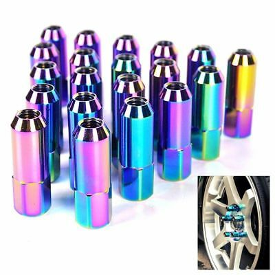 20Pcs Neo Chrome Jdmspeed M12X1.5 60Mm Extended Forged Aluminum Tuner Lug Nut