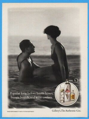 1992 Gilbeys Gin Boom Boxes Boogie Boards Wine Coolers Couple On Beach Swim Ad