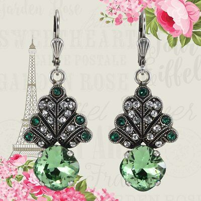 French Crystal Art Deco Lumiere Earrings by Au bout des Reves, Emerald Green