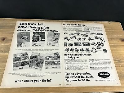 1972 VINTAGE 2 PG TOY TRADE PRINT Ad FOR TONKA TRUCKS SMOKEY BEAR FOREST FRIENDS