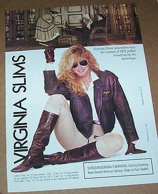 1988 print ad - Virginia Slims cigarette SEXY blonde Girl smoking leather ADVERT