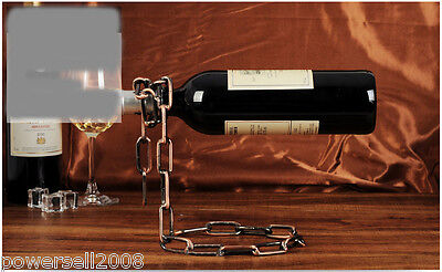 New European Decoration Antique Brass Wrought Iron Suspended Chain Wine Rack &$