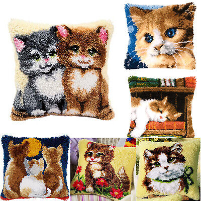 DIY Latch Hook Kit 7 models Needlecrafts Gift 16''by16'' Rug Cushion Cover Cats