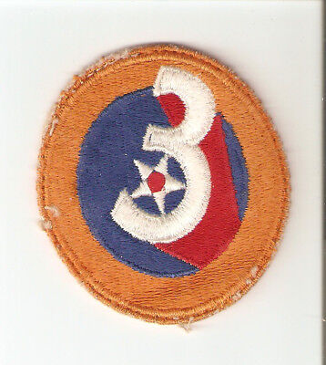 A    WW 2 U S Army 3rd Air Force  O D Backing Cut Edge Snow Back Patch