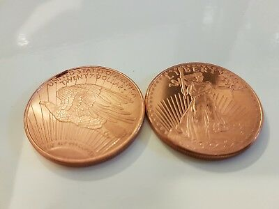 2 X SAINT GAUDENS 1933 DESIGN COPPER Coin Bullion .999 1 OUNCE