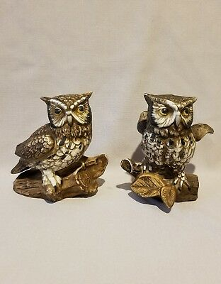 Set of two, signed porcelain owl figurines! 5 inches tall!