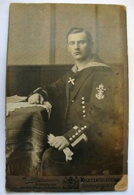 Imperial German Navy Engineer / Artificer Antique Cabinet Card Photograph