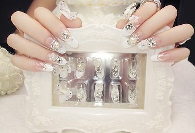 A32''Japanese Style 24 Pcs Set Press-On  Nail Tips Completed Fake Nails#