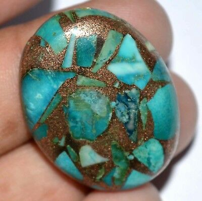 44.50 Ct Natural USA Blue Turquoise Copper Untreated AGSL Certified Gem Stone