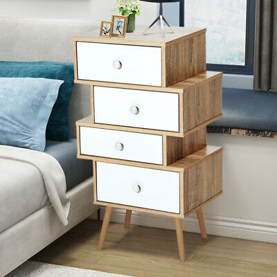 Vintage Bedside Cabinet 4 Drawers Table Oak Bedroom Furniture Solid Wood Legs