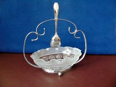 Vintage  Glass Sugar bowl With Plated Cradle & Spoon - Celtic Sugar Bowl