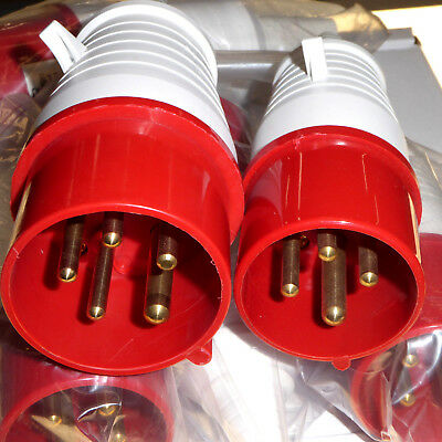 6 x 16 Amp Industrial 415V Red Plugs 4x 4 Pin and 2x 5 Pin Three Phase IP44 New