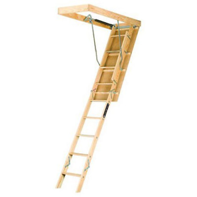 Louisville Ladder L224P 250-Pound Duty Rating Wooden Attic Ladder Fits 8-Foot 9-