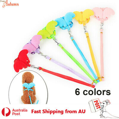 Dog Harness Leash Set Wings Cute Walk Collar Nylon Cat Puppy Kitten Pet 6Colors