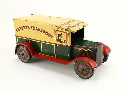 WELLS Express Transport Van Wind Up 30's Vintage Tin Toy Truck F183