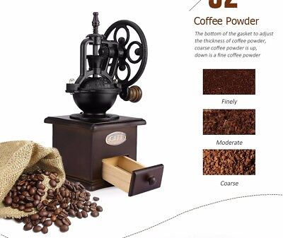 Vintage Manual Wooden Coffee Grinder Old Style Hand Grinder Coffee Mill New