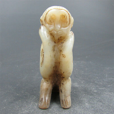 Chinese hard jade Jadeite pendant necklace hand-carved collection monkey  4