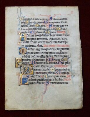 Richly Illuminated Psalter Vellum France/metz Initials 1300 Ad #b835S