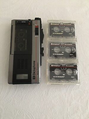 Dictaphone Model 3258 Voice Recorder with 3 Tapes and Case