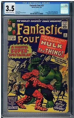 Fantastic Four 25 CGC 3.5 Hulk VS Thing 1st battle cover. FREE SHIPPING.