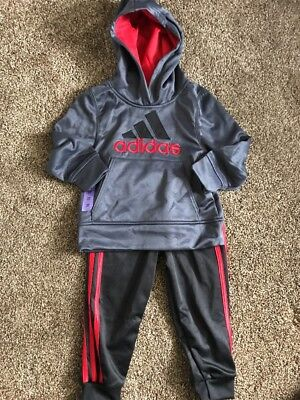 Adidas Boys' 2-piece Set Jogger Hoodie with Pants Size 3T Grey Red Black