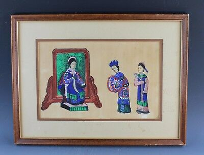 Antique Chinese Traditional Pith/Rice Paper Paintings - Framed