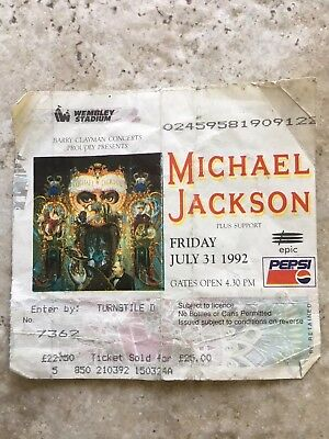 Michael Jackson Dangerous tour ticket Wembley 1992
