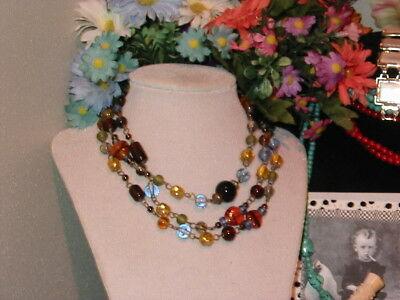 Vintage Necklace circa 1960's Brass and Glass Beads 44 Inches Lobster Claw Clasp