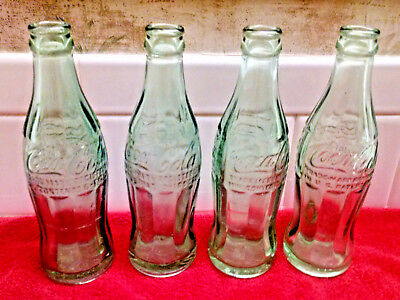 4 Vintage Coca Cola Coke Soda Pop Bottle Green Glass 6 oz ALL FLORIDA-
