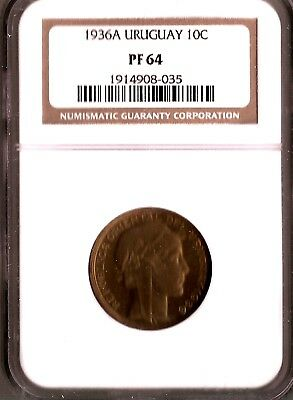 Uruguay 10 Centesimos 1936A Proof (Puma)Ngc Graded