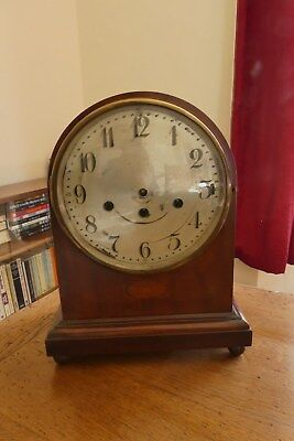 Junghans Mahogany Line Inlaid Westminster Bracket Clock. For Repair or Spares.