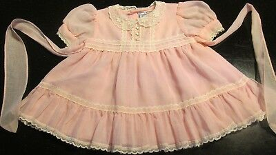 vintage Pink with Lace Baby/Toddler Dress with Attached Slip