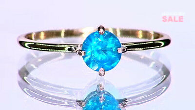 1/2Ct Rare Neon Apatite Solitaire 10K Yellow Gold Ring Size L-M/6