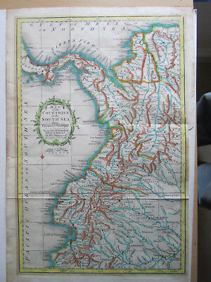 1821 Antique Map of the Countries of the South Seas from Panama to Guayquil