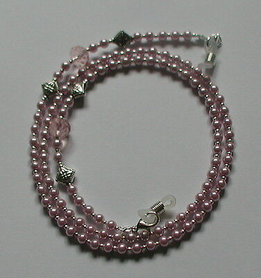 Classic Pink Glass Pearl Beads Elegant Glasses Chain Spectacles Holder