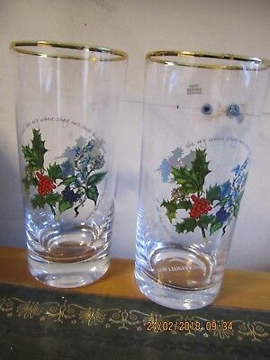 Portmeirion 2 Glass Tumblers Holly & Ivy
