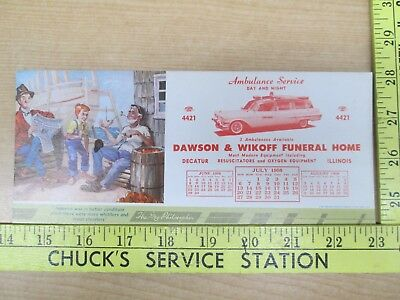 Vtg 7-1958 Dawson & Wikoff Funeral Home & Ambulance Service Decatur IL Blotter