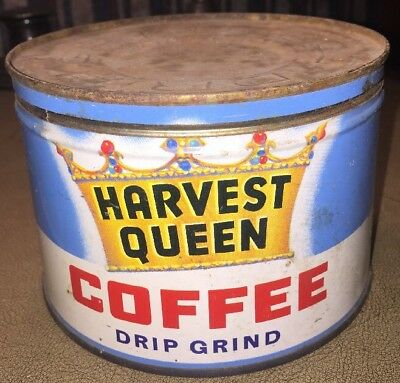 Antique Coffee Tin Vintage Can 1 Lb Harvest Queen Red Owl Minnesota Advertising