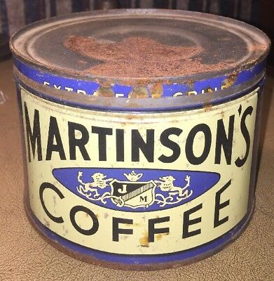 Antique Coffee Tin Vintage Can 1 Lb Martinson's New York NY Advertising Blue
