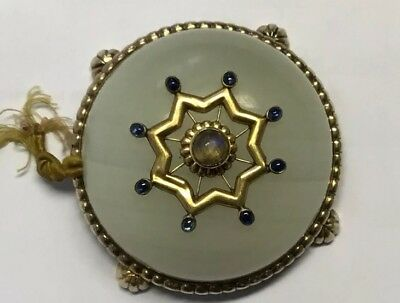 Antique Russian Silver Gold Desk Bell Hardstone Sapphires Russia Marks Faberge