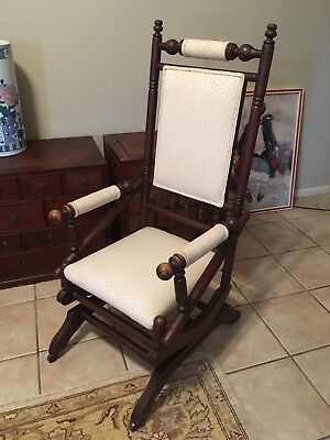 Antique Carved Wood Glider Rocking Chair Rocker Upholstered Seat Old  Victorian 1
