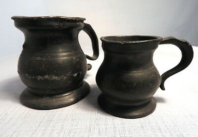 Antique 1/4 and 1/2 Gill Pewter Measuring Cups c.1880