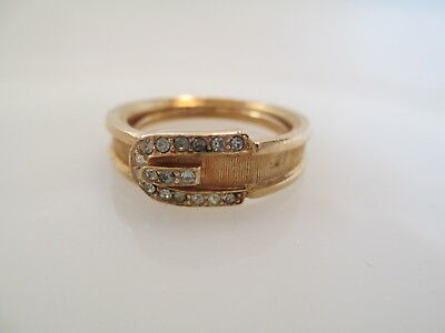Vtg. Signed Avon Gold-Tone Buckle Ring In Original Box With Sleeve. Sz 9 (Os75)
