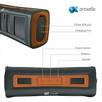 Portable Waterproof Bluetooth 4.0 Speaker Blk/Orange IP67 PROXELLE Surge Blast