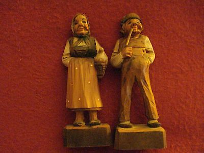 Vintage Hand Carved Couple Figurines- Detailed Wooden Folk Figures Made in Italy