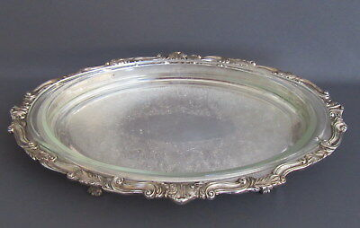 """Vntg Large Oval Footed Silver Plate Tray Platter w/Glass Insert Over 20"""" Long"""