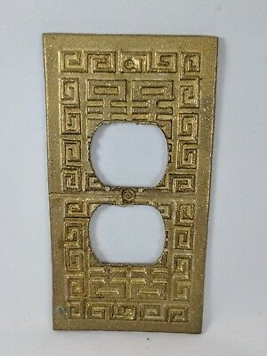 Vintage Brass Oriental Wall Plate - double outlet