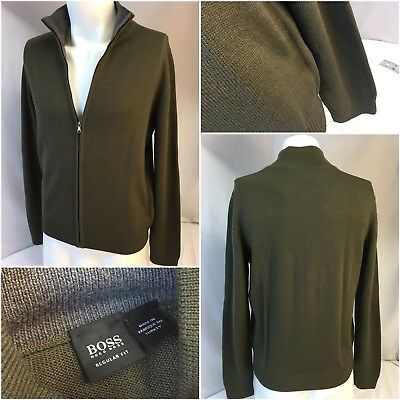 great prices outlet boutique best prices HUGO BOSS JACKET Small Green Wool Polyacryl Full Zip Turkey ...