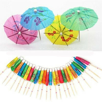 50X Paper Cocktail Parasols Umbrellas Party Wedding Supplies Luau Drink Stick、AU