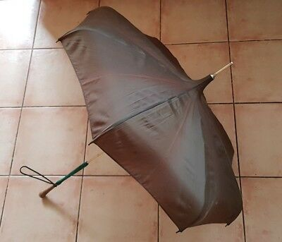 Vintage Parasol Umbrella - Woven Cane & Green Marble Lucite Handle